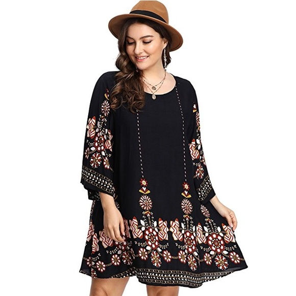 fb596dcee6f Women s plus size bohemian tribal print dress